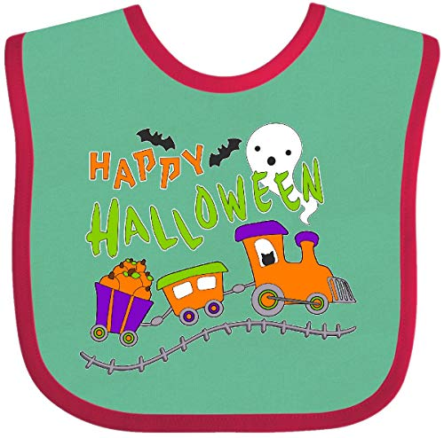 Inktastic - Happy Halloween- Train with Pumpkins, Baby Bib Green and Red 2bdec ()