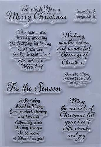 MaGuo Sentiments Warm Friendly Christmas Clear Stamps for DIY Paper Craft Card Making Decoration or -