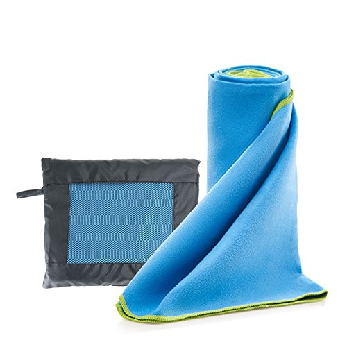 Defler 51'' x 31'' Microfibre Travel Towel & Quick Dry Towel - Lightweight and Highly Absorbent for Swimming, Beach, Hiking, Camping, Sports, Bath, Yoga and Home Use with Zip Carry Bag - Microfibre Trek Towel