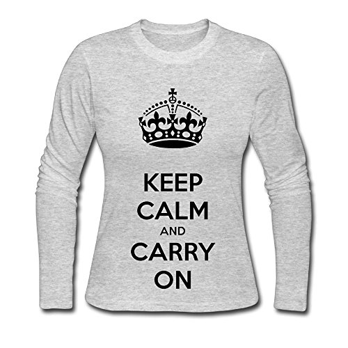Qear Keep Calm And Carry On Womens Long Sleeved Round Neck T Shirts Gray Xxl
