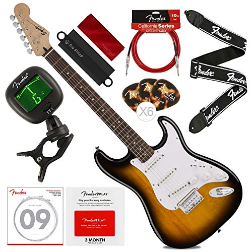 (Fender Squier Bullet Strat HT 6-String Electric Guitar - Hard Tail - Brown Sunburst with Fender Play Card, Tuner, Strings, Picks, Deluxe Complete Starters Pack)