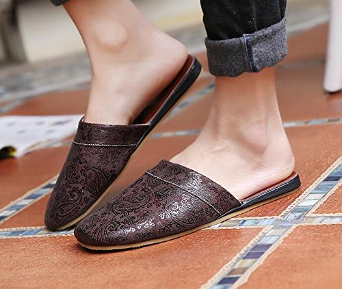 TELLW and Slip Slippers Autumn Anti Waterproof Fouling air Floor Home Spring Velvet Home Slippers Cushion Cool men Brown dark Non Wooden t10tnrqWP