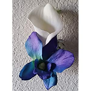 Peacock Purple Blue Turquoise Orchid Calla Lily Bridal Wedding Bouquet & Boutonniere 4