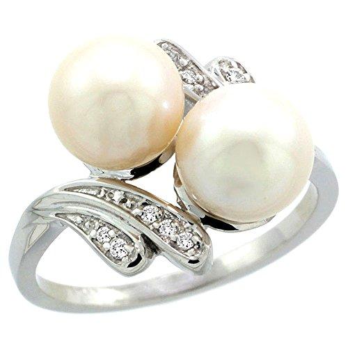 14k White Gold Double Pearl - 14k White Gold Double Pearl Diamond Ring w/ 0.07 Carat Brilliant Cut ( H-I Color; VS2-SI1 Clarity ) Diamonds & 8mm White Pearls, 9/16 in. (15mm) wide, size 10