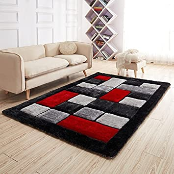 New Red Black Silver Blocks Design Luxurious Thick Pile Rug Modern