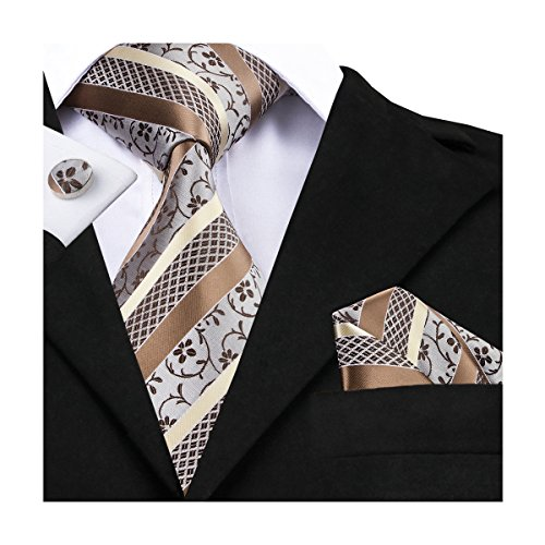 Brown Silk Tie - Hi-Tie Men's Floral Ties Handkerchief Cufflinks Jacquard Woven Silk Necktie Tie Set (Floral)
