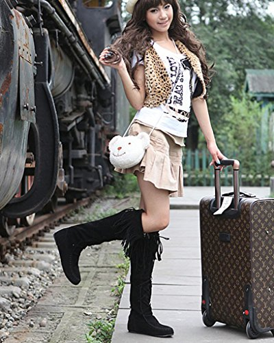 Elegante Stivali Piatti Nappa Nero Boots Casual Inverno Minetom Lunghi Autunno Stringate Donna Stivali Heel qT8SWTtFv7