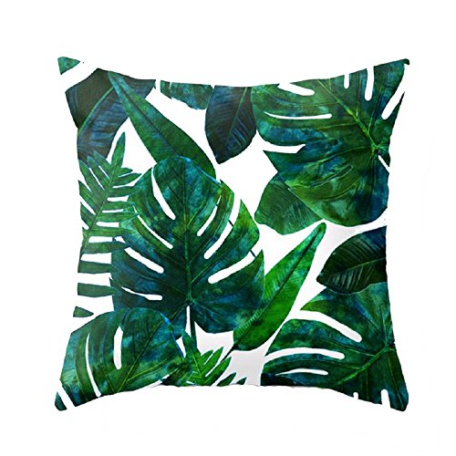 (Meihuida Pillow Cases Tropical Rainforest Cushion Cover Leaf Print Pillowcases Home Bed Room Decorative Palm Tree Leaves 17.7 x 17.7 Inch)