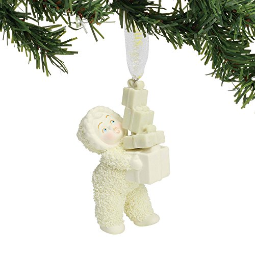 "Department 56 Snowbabies Peace Collection ""Lots of Gifts"" Porcelain Hanging Ornament, 2.25"""