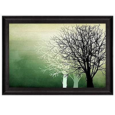 Premium Creation, Delightful Craft, Silhouette Trees Over Green Watercolor Gradient Wood Panels Nature Framed Art