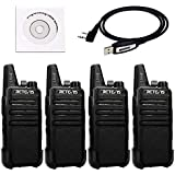 Retevis RT22 Walkie Talkies Rechargeable 16 CH CTCSS/DCS VOX License-free Two Way Radio(4 Pack) and Programming Cable