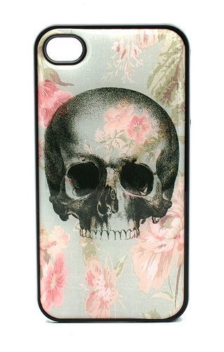 BLACK Snap On Case iPhone 4 4S Plastic - Vintage Floral Skull Flower sugar rose