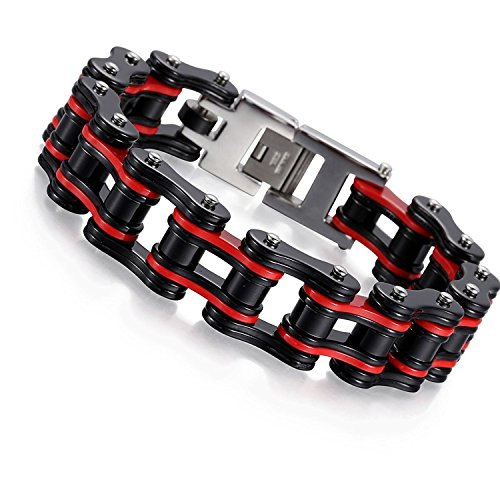 Davieslee Mens Bracelet Biker Motorcycle Chain 316L Stainless Steel Black Red Tone Hip Hop 18mm 8.85inch (Red Hip Hop Bracelet)