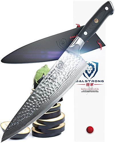 DALSTRONG Chef's Knife - Shogun Series X Gyuto - Japanese AUS-10V - Vacuum Treated - Hammered Finish - 8' - w/ Guard