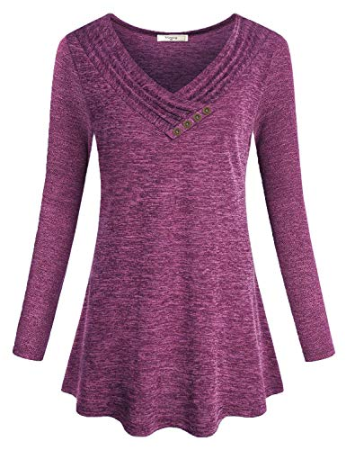 Viracy V Neck Tops for Women, Girls Petite Tunic Cute Ruffle Shirts Long Sleeve Cowl Neck Pleat Design Loose Flowy Round Hem Boutique Blouse Funny Hipster Slimming Pullover Purple ()