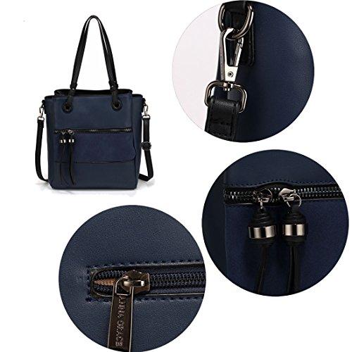 Tassel Pocket Metal Work SAVE Bag Black Shoulder FREE Front 50 With UK Navy DELIVERY Gorgeous tEwqpRf