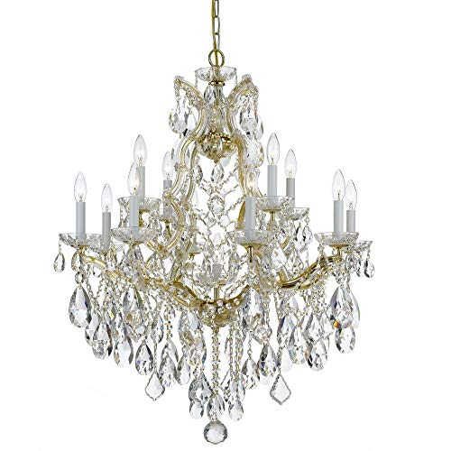 Bohemian Crystal 13 Light Candle Chandelier Crystal Type/Finish: Majestic Wood Polished/Gold ()
