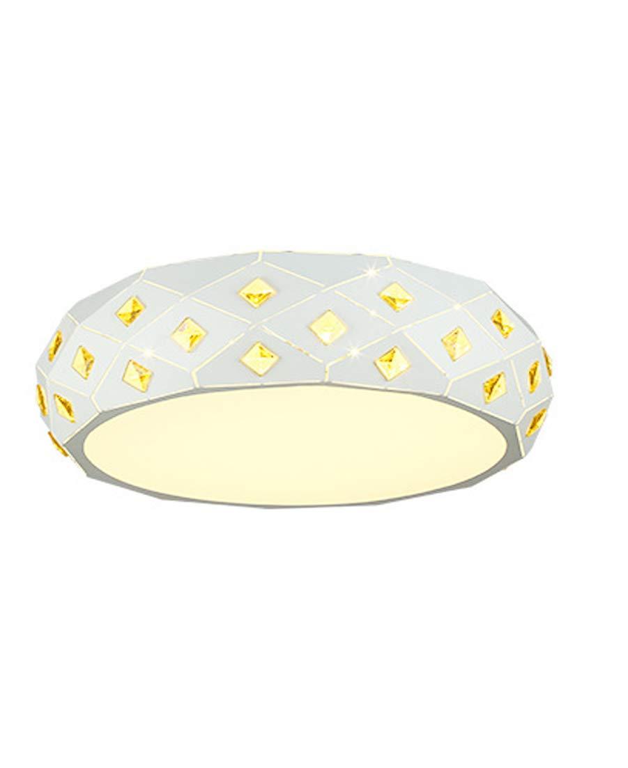24W Moderne Design LED-Deckenleuchte Dimmbar Runde Metal Wohnzimmer led Kristall Deckenlampe, Minimalistische Atmosphäre Restaurant Kristall Lampe, Schlafzimmerlampe Ø 46cm H12cm 220V