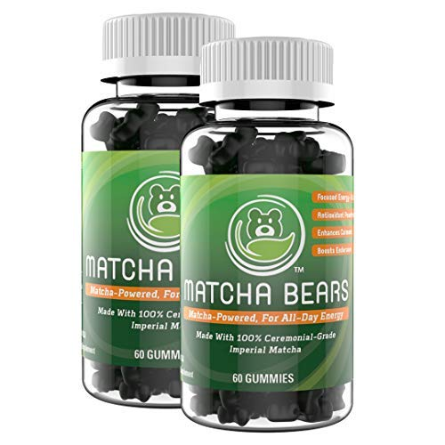 Matcha Bears Matcha Infused Gummy Vitamin Supplement Made with Ceremonial Grade Green Tea Matcha Powder Natural Antioxidant Powerhouse 120 Gummies
