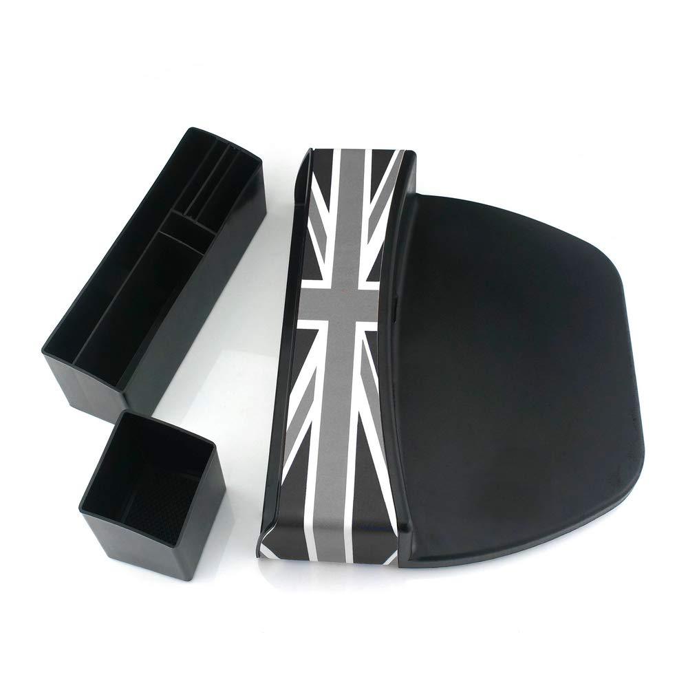 Heinmo pour Mini Cooper Countryman Paceman F60 R60 F56 R56 ect Gray Rice Accessoires de bo/îte de Rangement de si/ège de si/ège ABS Checker Union Jack