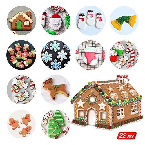 Xntun 22 Piece Christmas Cookie Cutter Set, Bake Small Gingerbread House Kit, Christmas House, Chocolate House, Haunted House etc ()