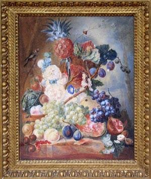 Hollyhocks, Pineapples, Grapes, Melons, Plums, Pomegranate, Walnuts, Pears and Berries on a Marble Ledge with a Goldfinch ()