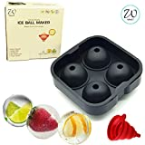 West7 Ice Cube Tray With Lid - Ice Ball Maker - Silicone Ice Tray + 'Free Funnel' | NewDesign - Premium Round Ice Maker/Round Ice Balls Mould/Ice Ball Tray - FDA APPROVED - Ice Sphere Maker (1)