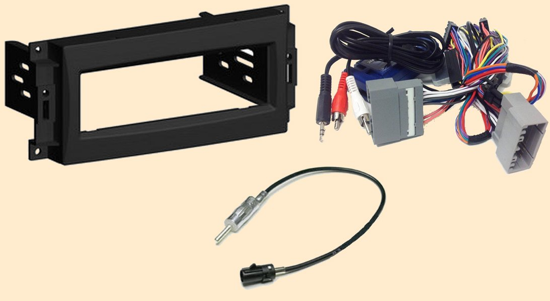 Radio Stereo Install Single Din Dash Kit + Steering control wiring + canbus wire harness + antenna adapter fo Chrysler 200 (2011-2012), 300 (2008-2010), Aspen (08-2009), Sebring (2007-10), Town & Country (08-12) - Dodge Avenger (07-12), Caliber (09-12), C
