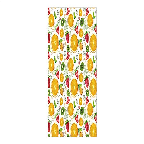 Shot Exotic Fruit - 3D Decorative Film Privacy Window Film No Glue,Fruits,Citrus Kiwi Lemon Leaves Apricot Watermelon Fresh Exotic Kitchen,Earth Yellow Red Lime Green,for Home&Office