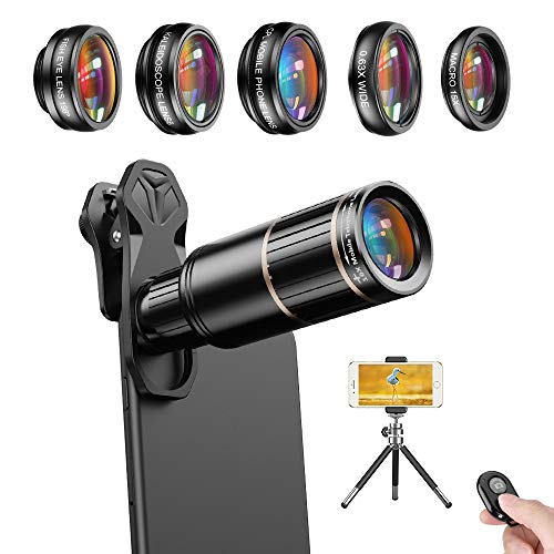 Apexel Cell Phone Camera Lens Kit -Remote Shutter+ Phone Tripod+ 6 in 1 Phone Lens -Metal 16X Telephoto Zoom Lens/Wide Angle/Macro/Fisheye/Kaleidoscope/CPL for iPhone X 8 7 6 Plus Samsung Smartphone