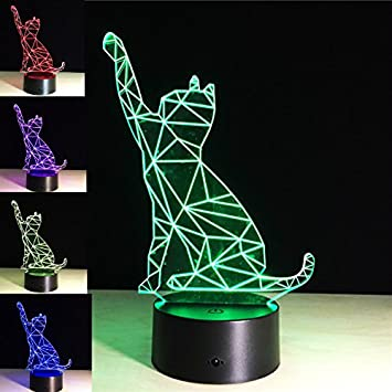 Amazon.com: Gato de la suerte superniudb 3d Luz Nocturna 7 ...