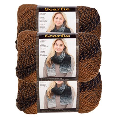 (Lion Brand (3 Pack) Scarfie Acrylic & Wool Soft Ochre & Navy Yarn for Knitting Crocheting Bulky #5)
