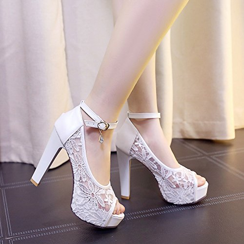 Coarse Sexy Blanco 42 de For Color Blanco Tacones Heel Sandalias 2018 High Comfort Mouth PU Summer Waterproof Taels Chunky Ladies Fish Mujer Beige Negro with tamaño Zapatos Mesh pwq4TZZ