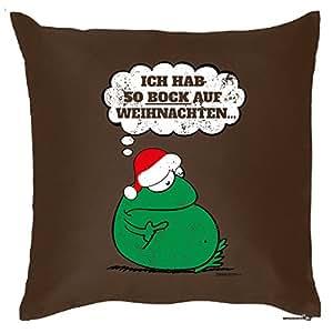 Verve Fun Shirt 'Cojín con cojín Interior–BESINNLICHE Navidad–Heavy Xmas–Navidad Enemigo, Navidad Muffel 40x 40cm–En Color Marrón: