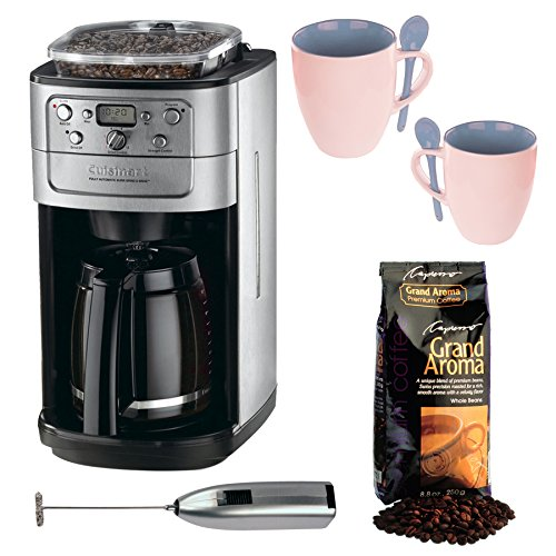 Cuisinart DGB-700BC Grind & Brew 12-cup Automatic Coffeemaker Bundle with Knox 16oz. Mug With Spoon (2 Pack) + Knox Milk Frother and Capresso Swiss Roast Coffee