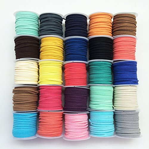 PEPPERLONELY Brand, 25 Rolls Faux Leather Suede Beading Cords Leather Braiding Supplies