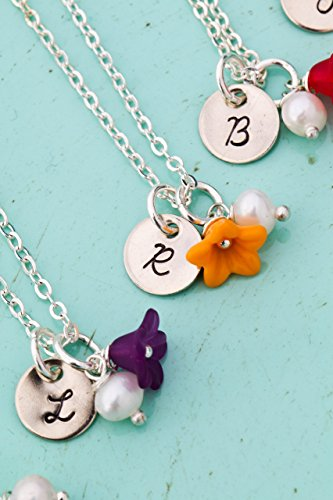 Flower Girl Necklace – DII AAA - Dainty Colorful Wedding Party Bridesmaid Charm Jewelry - Bridal Handstamped Handmade Jewelry – 3/8 Inch 9MM Disc – Choose Initial – Fast 1 Day Shipping - Pearl Green Turquoise Necklace