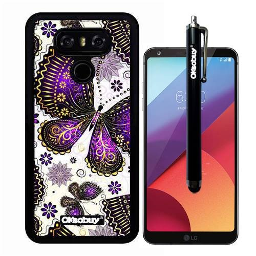 G6 Case, Black Purple Butterfly Camo Case, OkSoBuy(R) Ultra Thin Soft Silicone Case for LG G6 - Black Purple Butterfly Camo