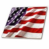 3dRose ct_12146_1 Textured American Flag Ceramic Tile, 4''