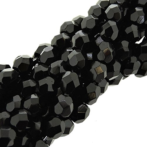 Preciosa Czech Fire Polished Faceted Glass Beads Round 4mm, 100pcs, Opaque Jet Black ()