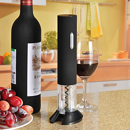 YANGMAN Cordless Automatic Wine Opener - Electric Wireless Bottle Opener - Battery-Operated Corkscrew - with Foil Cutter/Stand - Without Battery -Black