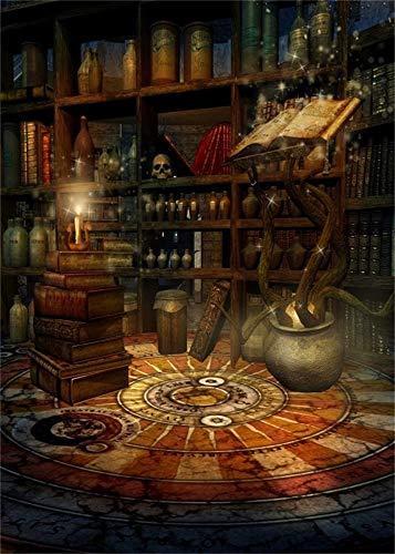 AOFOTO 5x7ft Vintage Magic Room Background Witch Magical Potion Skull Photography Backdrop Medieval Wizard Candle Bookshelf Retro Books Halloween Photo Studio Props Wallpaper Boy Girl Child Portrait