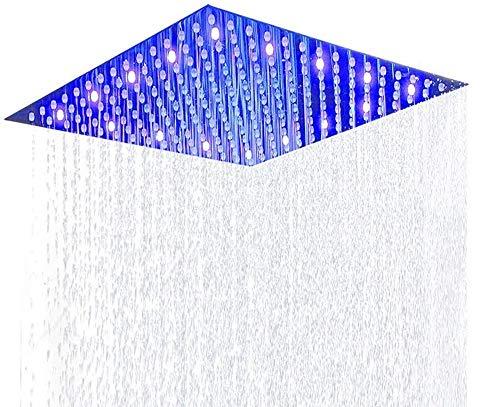 ELLO&ALLO 12 Inch LED Rain Shower Head, Stainless Steel High Pressure Rainfall - Cleaning Bathroom Mirrors Self