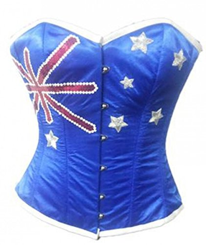 Cheap Plus Size Halloween Costumes Australia (Plus Size Corset Blue Satin Australia Flag Costume Sequins Overbust Bustier)
