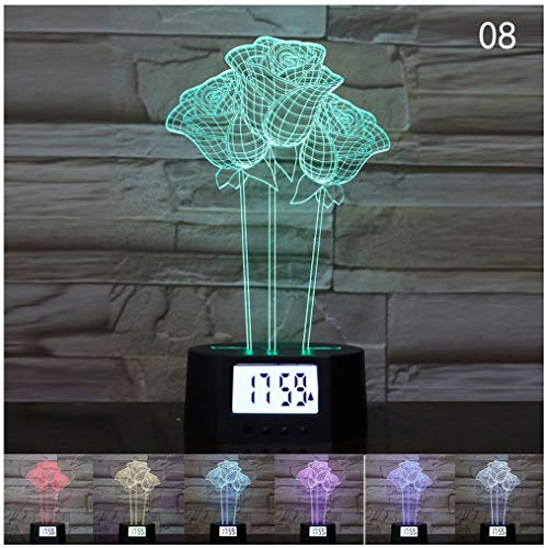JYB SHOPS Rose 3D Night Light LED Optical Illusion Lamp Sleep Lighting 7 Colors Changing Touch Desk Lamp for Valentine Birthday