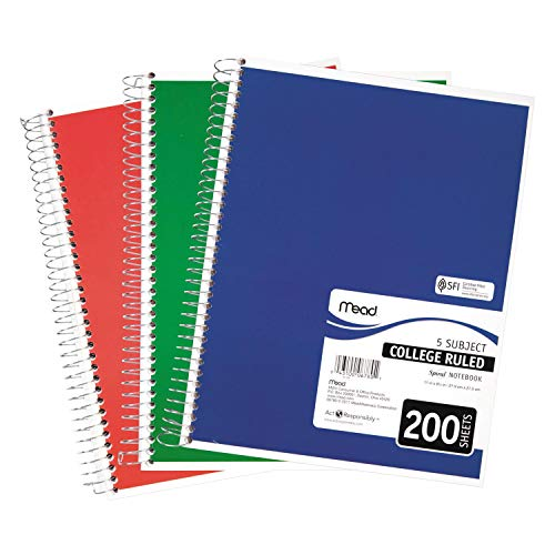 Mead® Spiral® 5 Subject Notebook - College Ruled, 8.5 x 11, Asst. Colors, 200 Sheets per Pad (06780) Pack Of 2