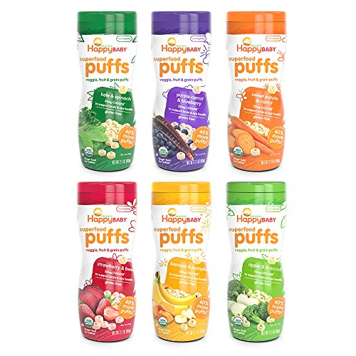 Happy Baby Organic Superfood Puffs, Variety Pack, 2.1 Ounce (Pack of 6)