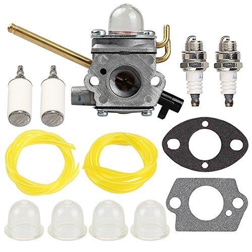 Butom Carburetor with Fuel Line Filter Spark Plug for Homelite UT-08520 UT-08921 UT-08550 UT-08951 26CC Blower 308028007