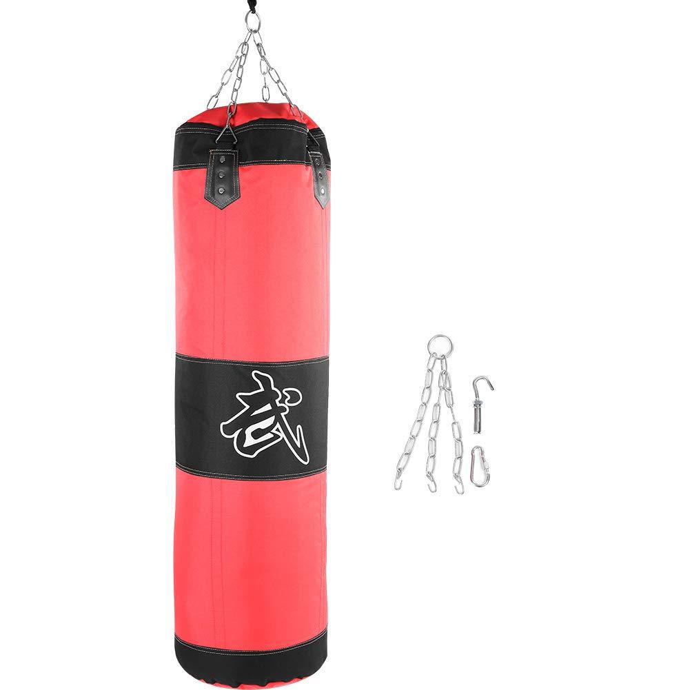 Saco de Boxeo,Bolsa de Entrenamiento de Boxeo Lona Saco de Arena de Boxeo Saco de Boxeo Vac/ío MMA Muay Thai Kick Boxing Artes Marciales Punching Bag con Cadenas para Ni/ños Adultos 1.2m-rojo