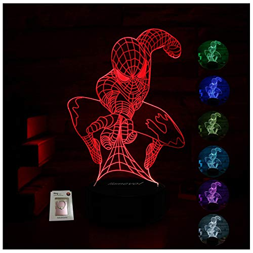 Spider-Man Night Light for Kids Birthday Gift 3D Illusion Lamp Optical Led Desk Gifts for Boys Men Home Decor Office Bedroom Party Decorations Web Shooter Nursery Lighting 7 Color Change - Night Light Man Spider